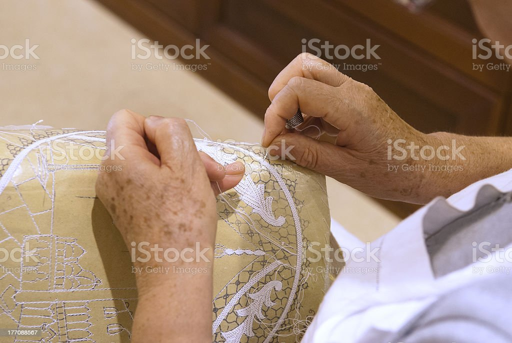 Lace Making in Venice, Italy stock photo