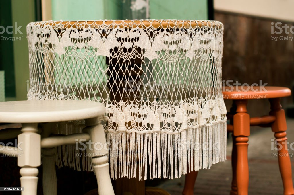 Lace tablecloth with fringe stock photo