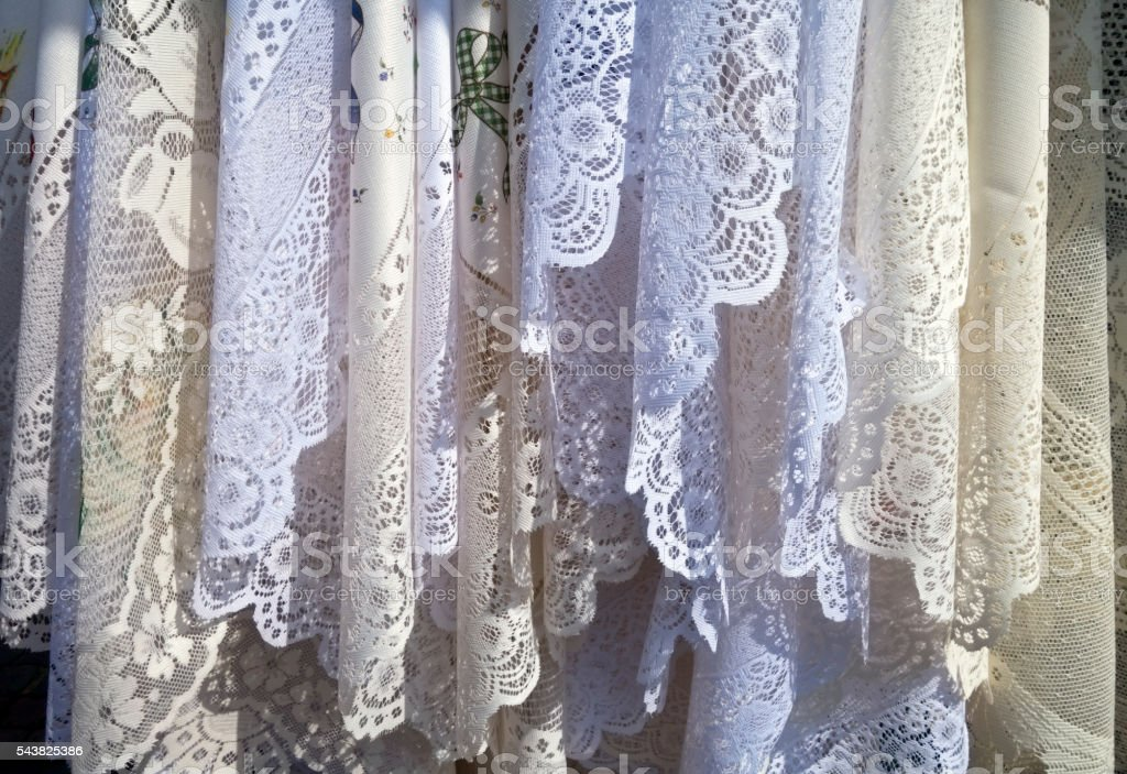 Lace tablecloths stock photo
