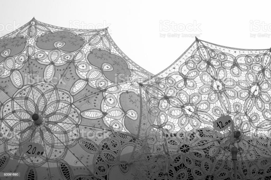 Lace Umbrellas. royalty-free stock photo