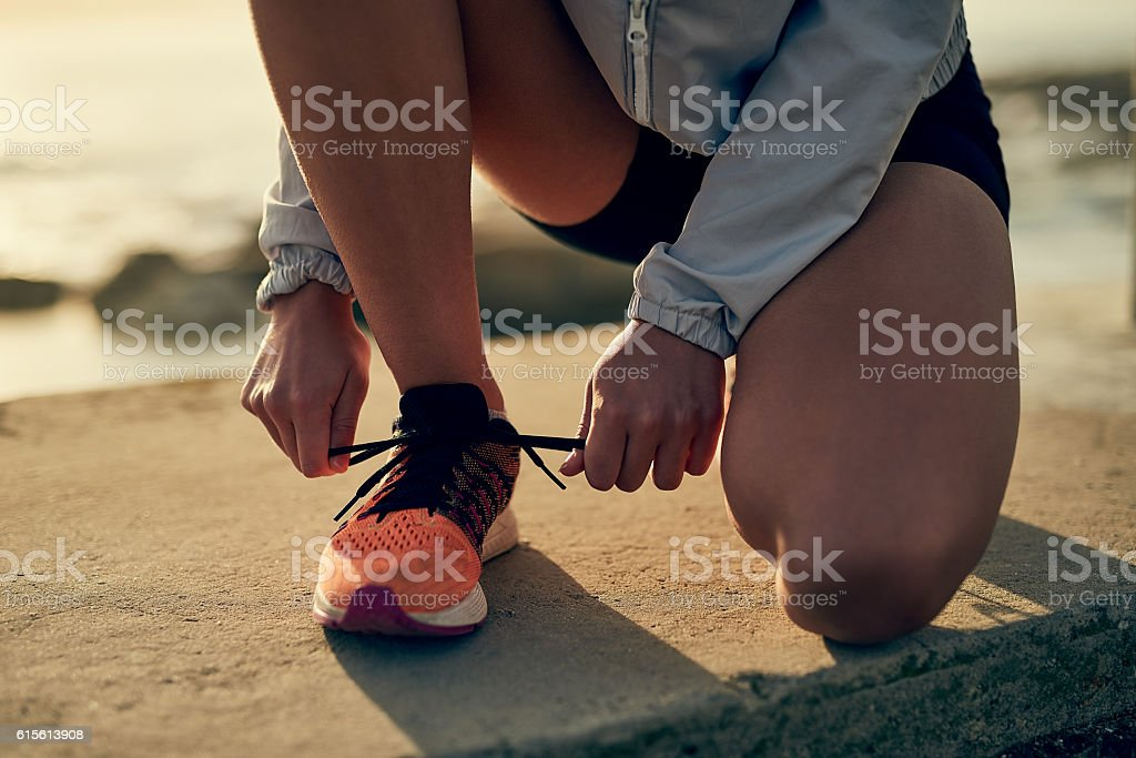 Lace up and get out there stock photo