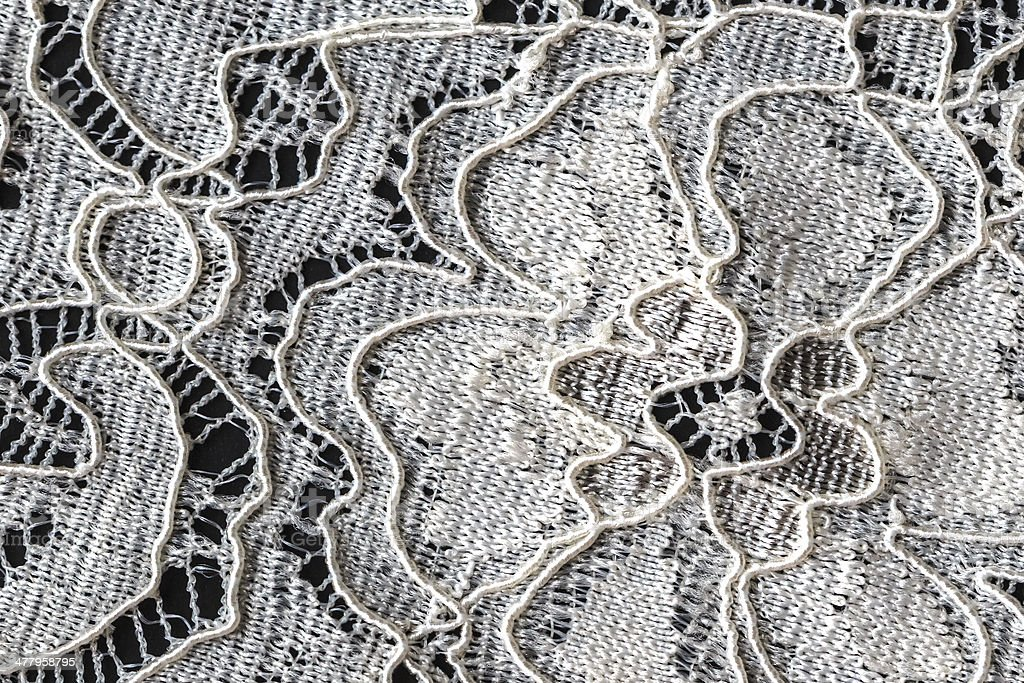 Lace with Flower Pattern on Black Background, Closeup royalty-free stock photo