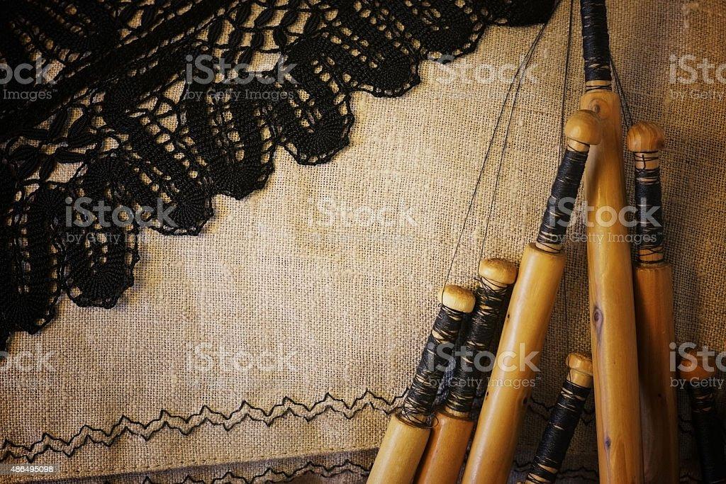 lace-making process stock photo
