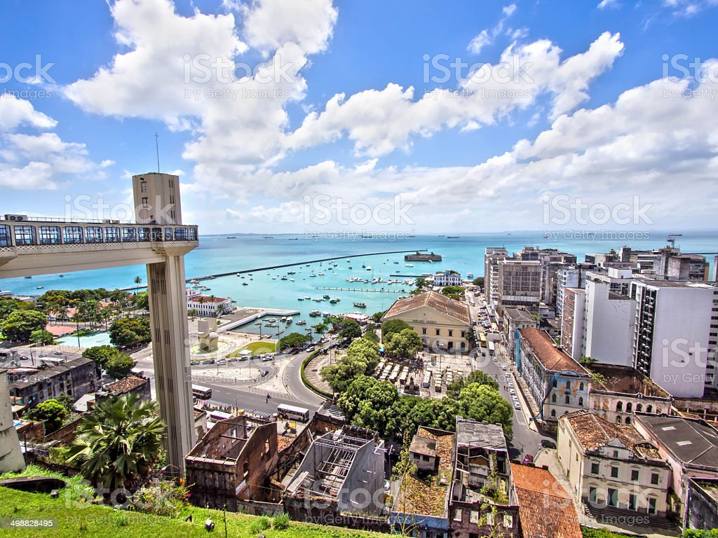 Lacerda Elevator and All Saints Bay in Salvador, Bahia, Brazil stock photo