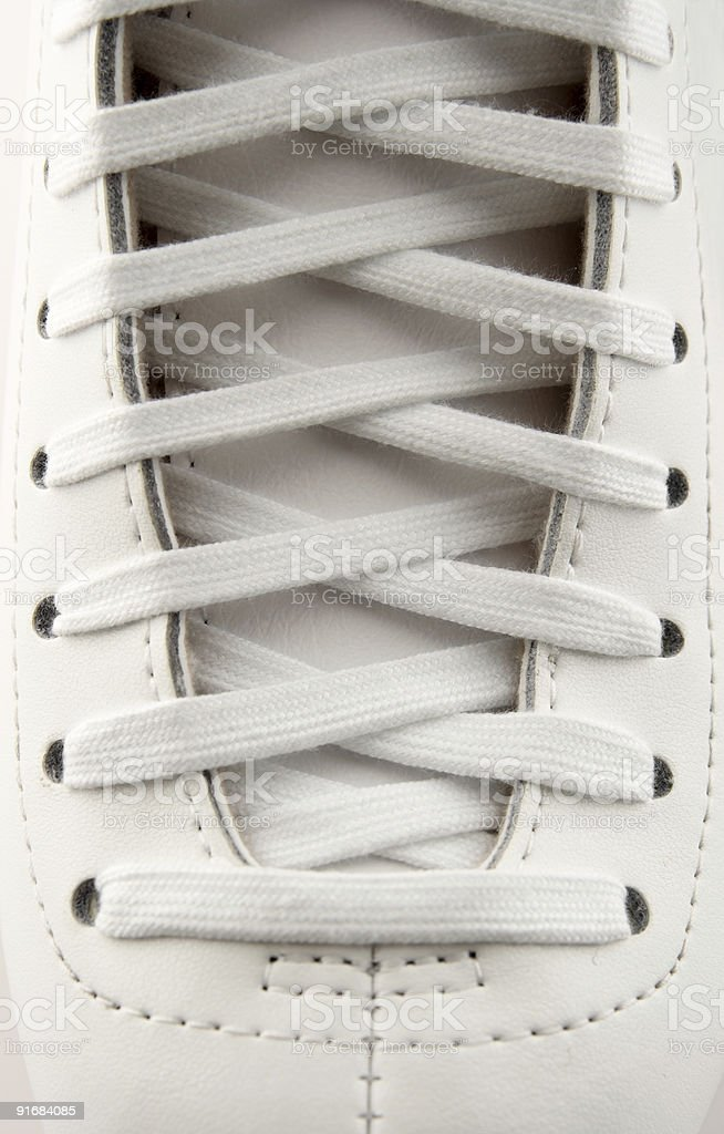 Lacing of a figure skate stock photo