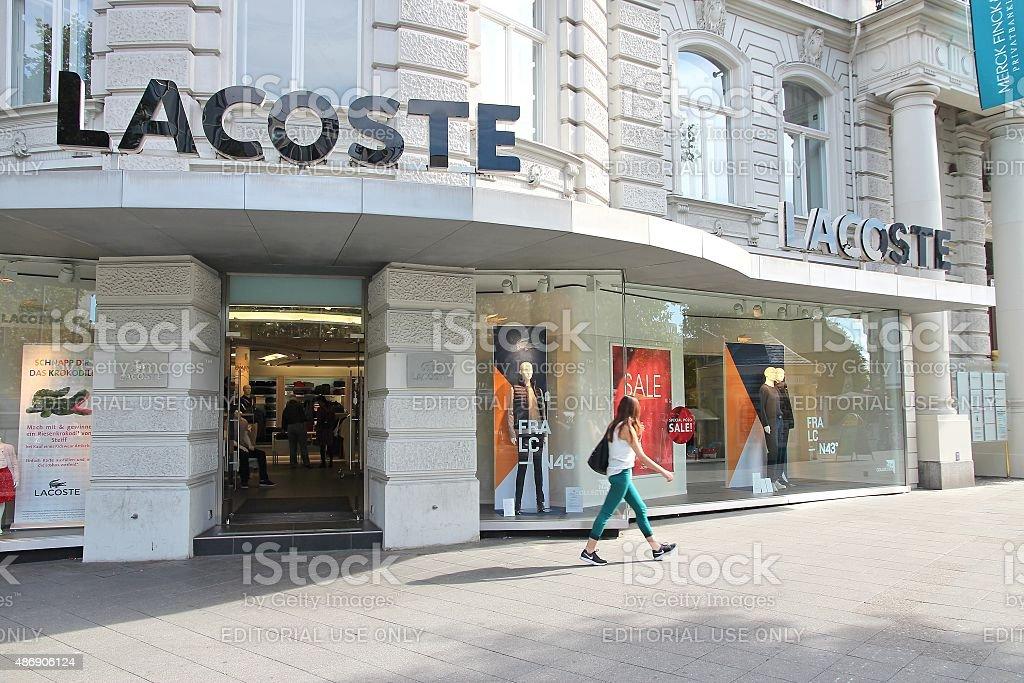 Lacoste fashion store stock photo