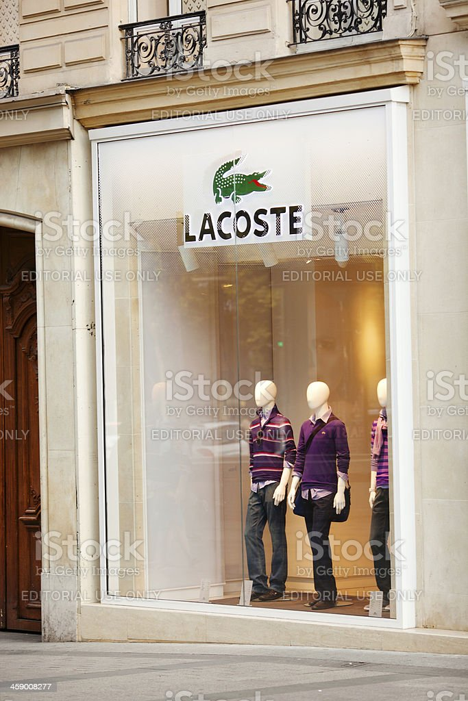 Lacoste Store on the Champs Elysees stock photo