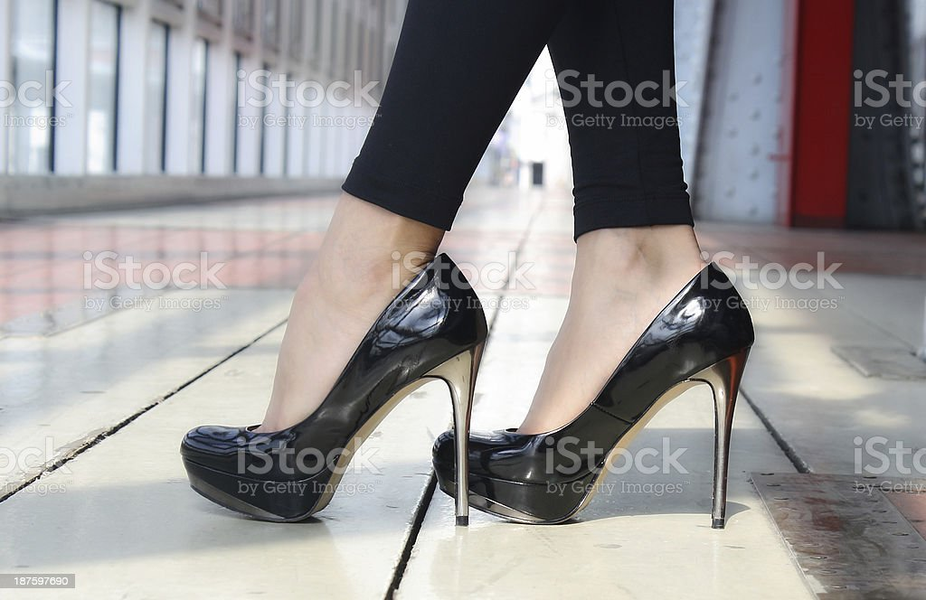 Lacquered shoes on heels stock photo