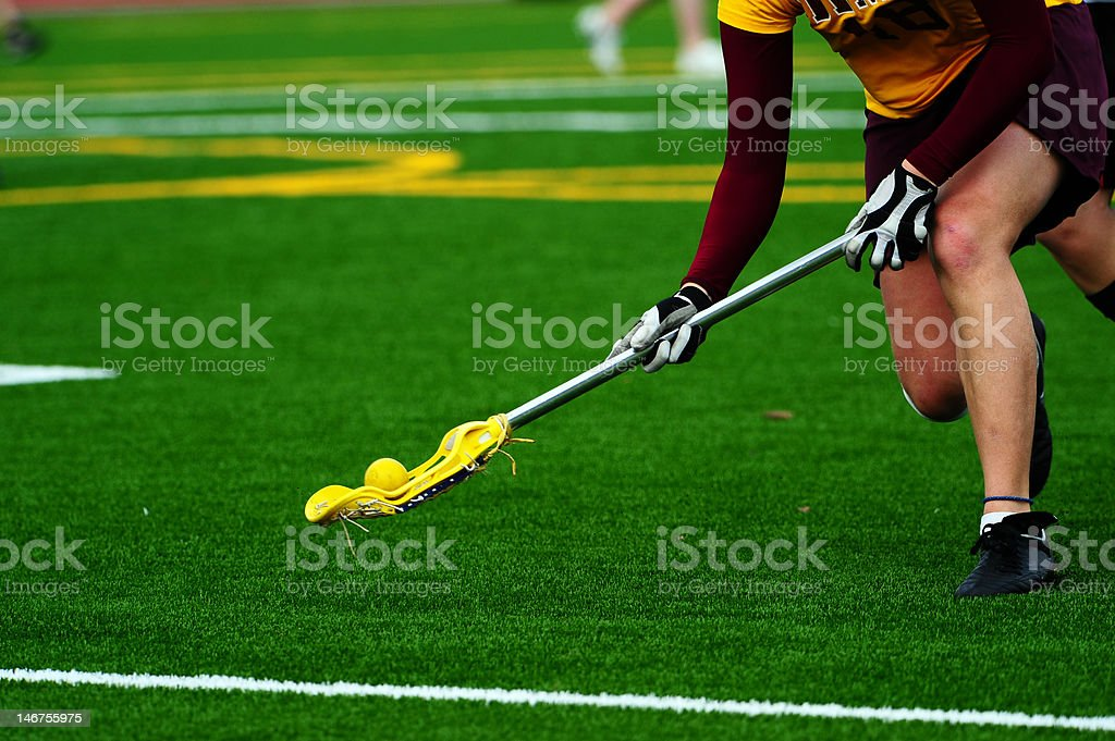 Lacrosse player ball turn over stock photo