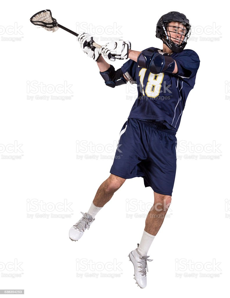 Lacrosse Player Taking a Shot stock photo