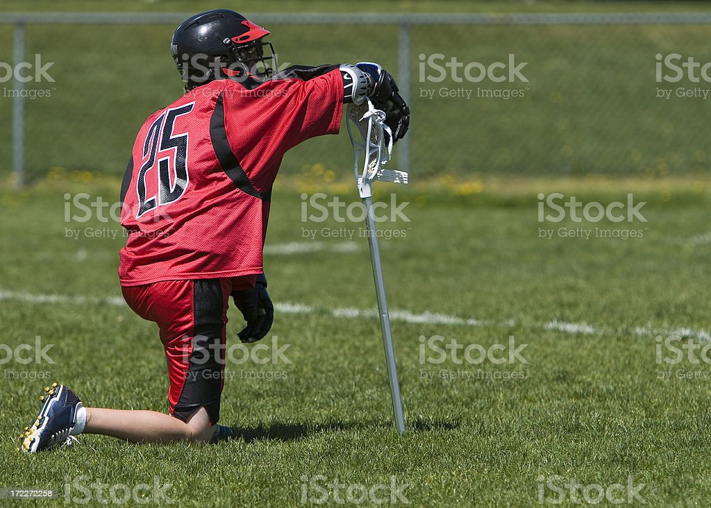 Lacrosse Player waiting royalty-free stock photo