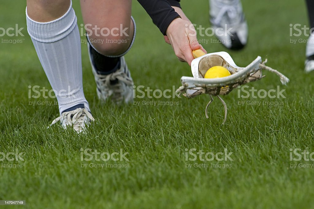 Lacrosse stick with ball stock photo