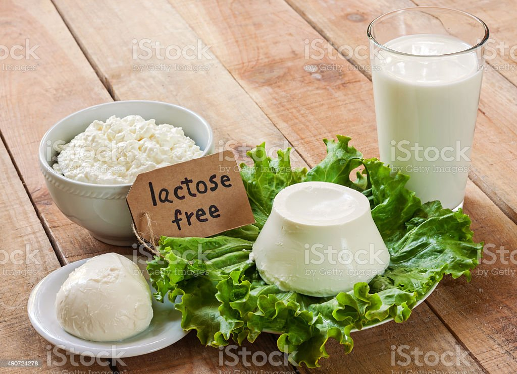 lactose free intolerance - food with background stock photo