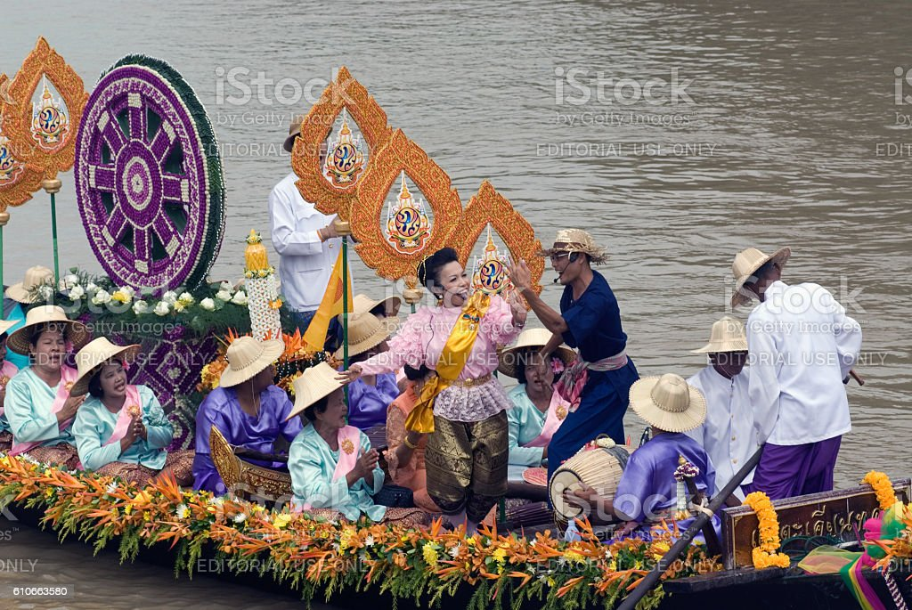 Lad Chado Candle Floating Festival,Thailand. stock photo