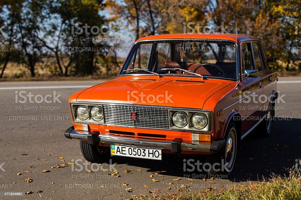 Lada 2106 parced near the road stock photo