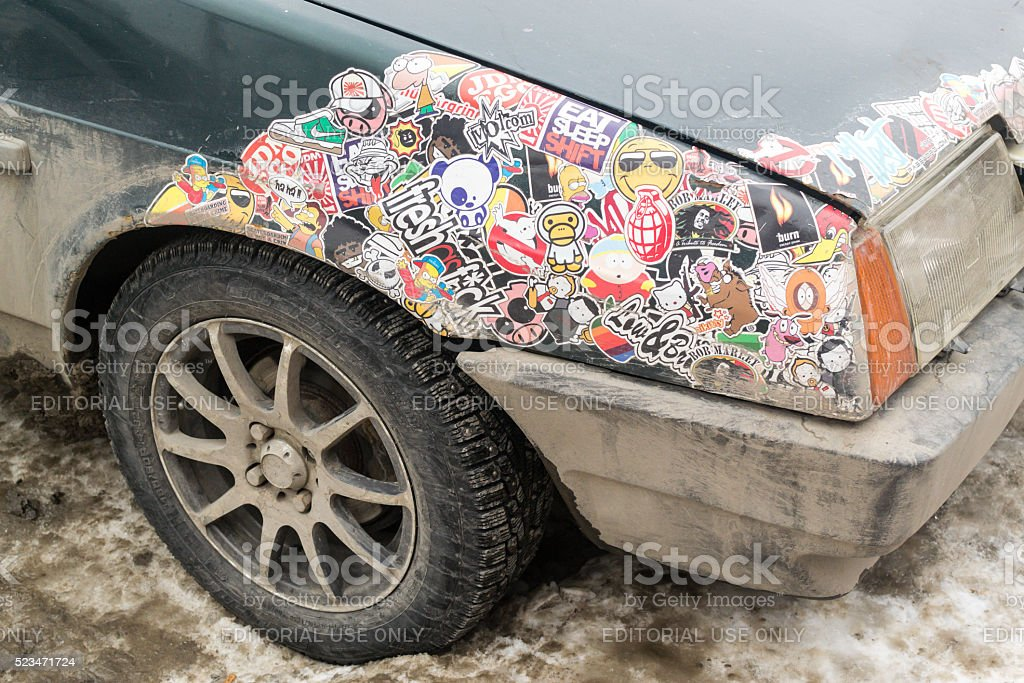 Lada Car Covered in Stickers stock photo