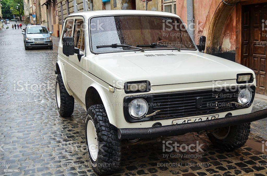 Lada Niva soviet car manufactured by AvtoVAZ stock photo