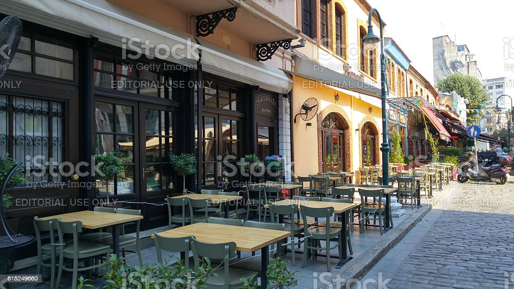 Ladadika quarter in thessaloniki, Greece stock photo