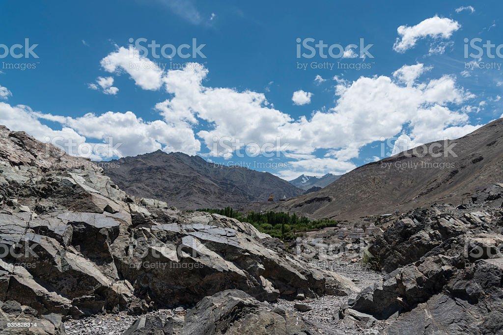 Ladakh landscape; rocky, barren desert terrain of Ladkah stock photo
