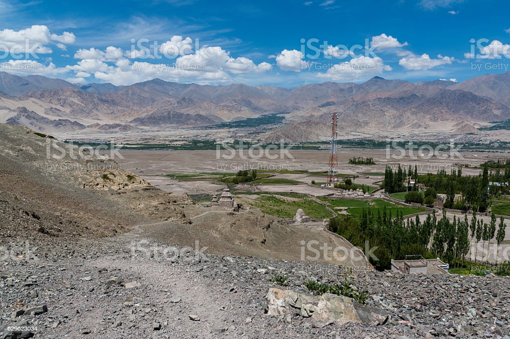 Ladakh landscape showing human settlement and Himalayan mountains stock photo