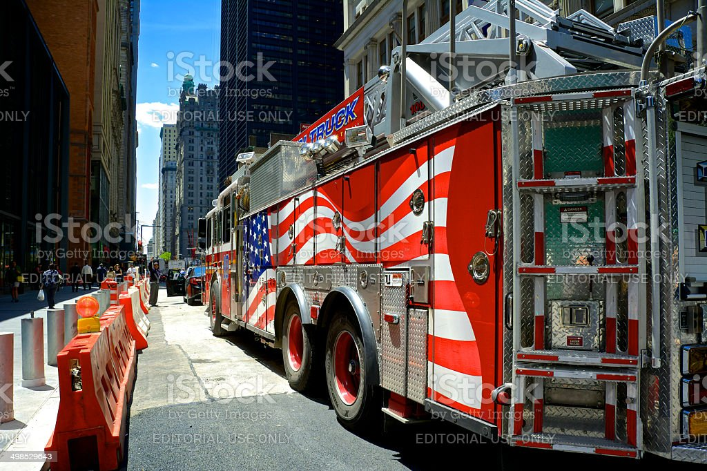FDNY Ladder 10 seen on Broadway, Lower Manhattan royalty-free stock photo