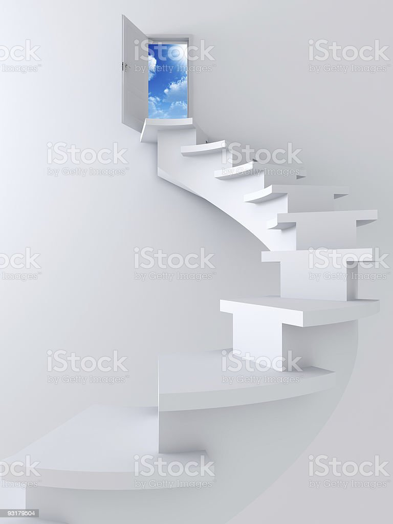 ladder and opened to sky door royalty-free stock photo