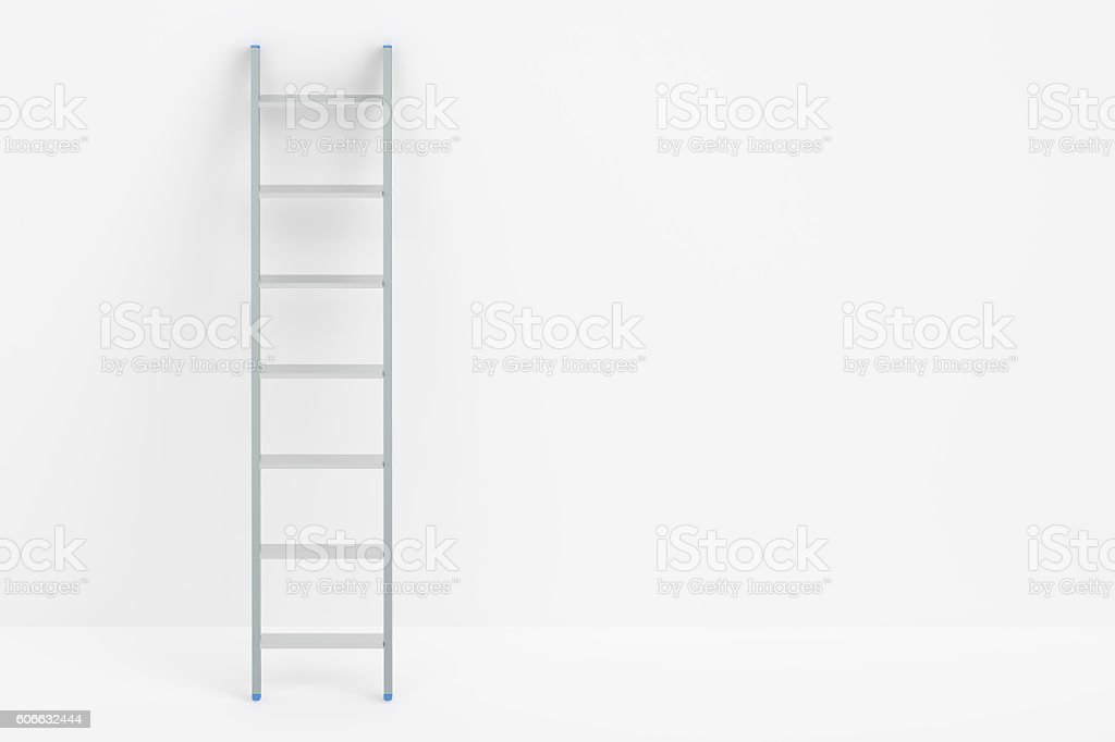 ladder and white wall, 3D rendering stock photo