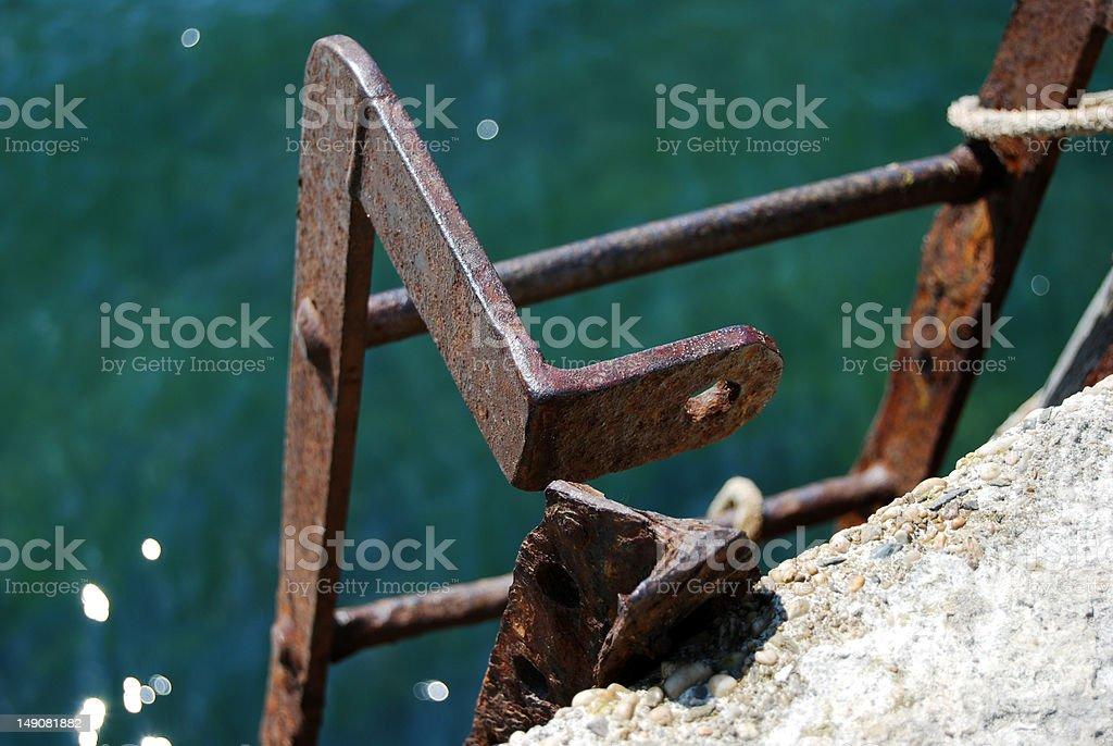 Escada ao porto de parede foto royalty-free