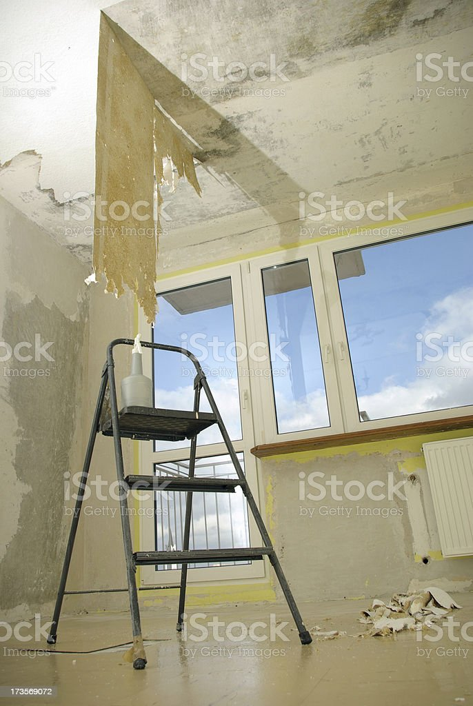 ladder in a abandoned room royalty-free stock photo