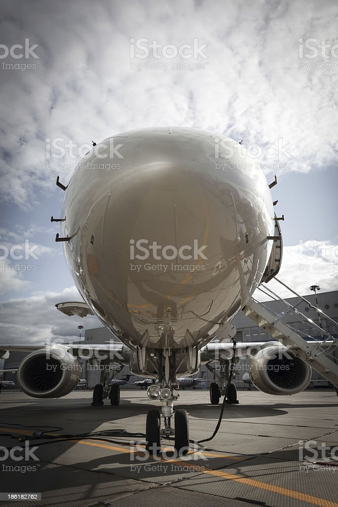ladder in a private jet stock photo