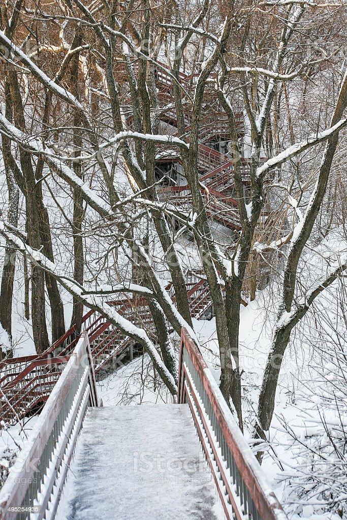 ladder in park Kolomna stock photo