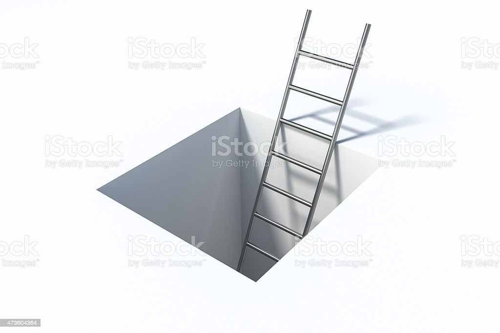 ladder in square hole over white surface help illustration stock photo