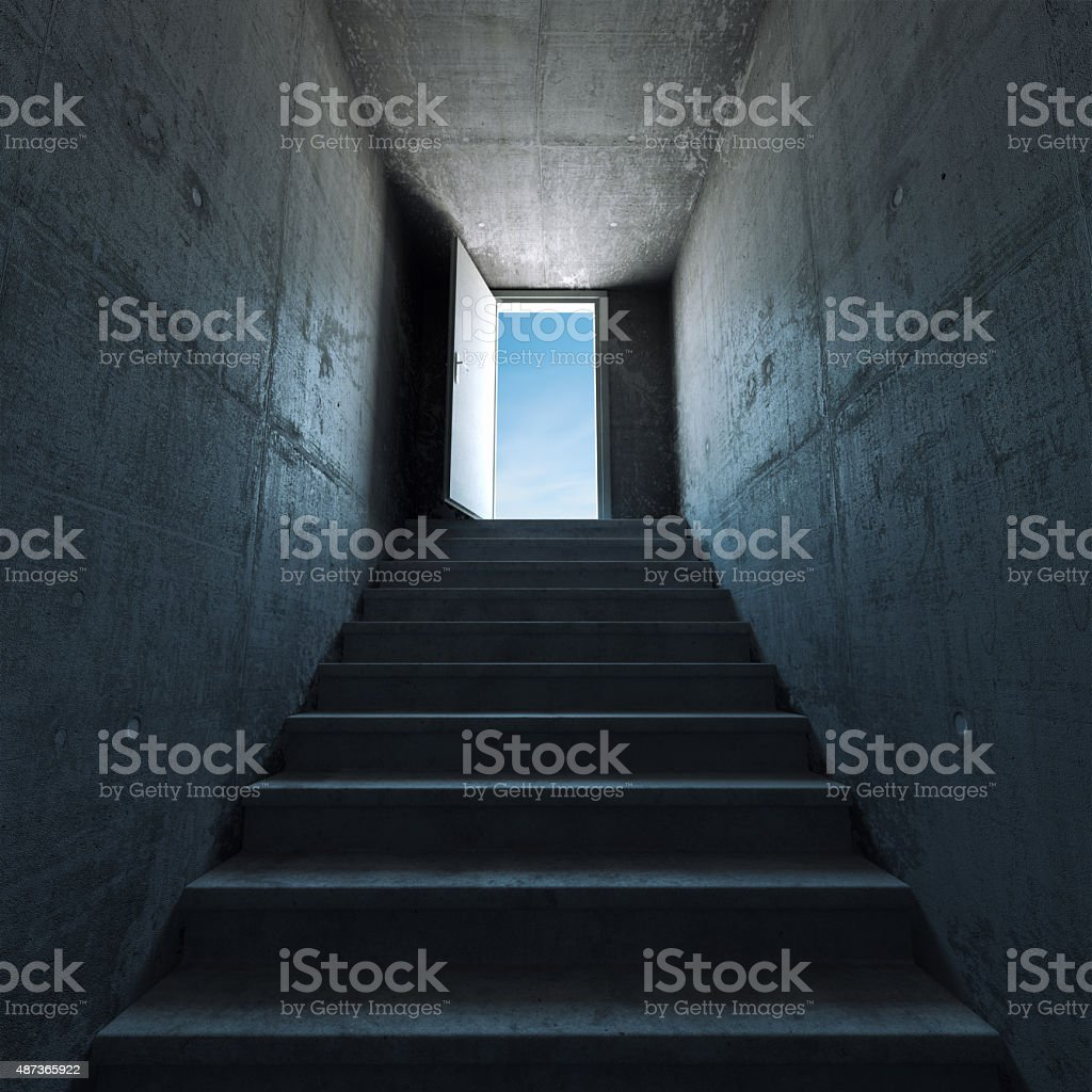 Ladder leading up stock photo