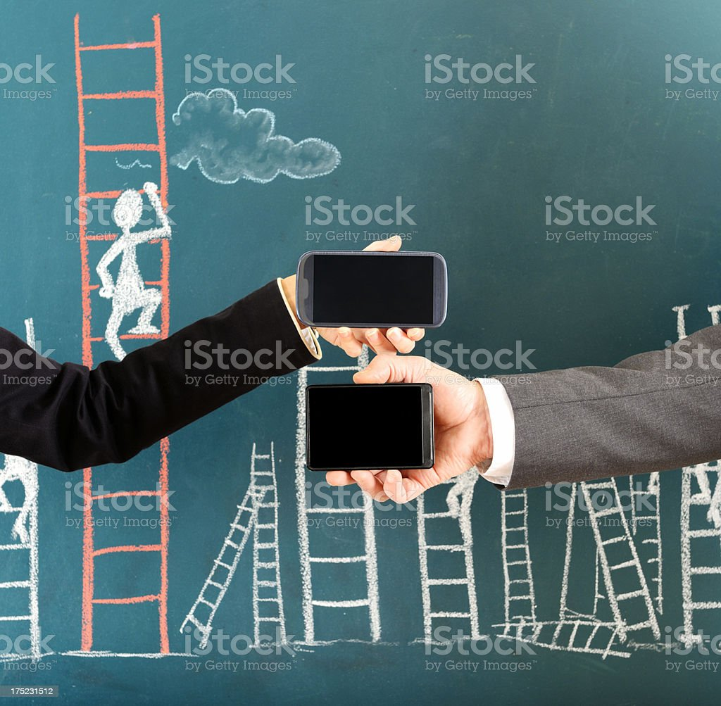 Ladder of Success and Smart Phone royalty-free stock photo