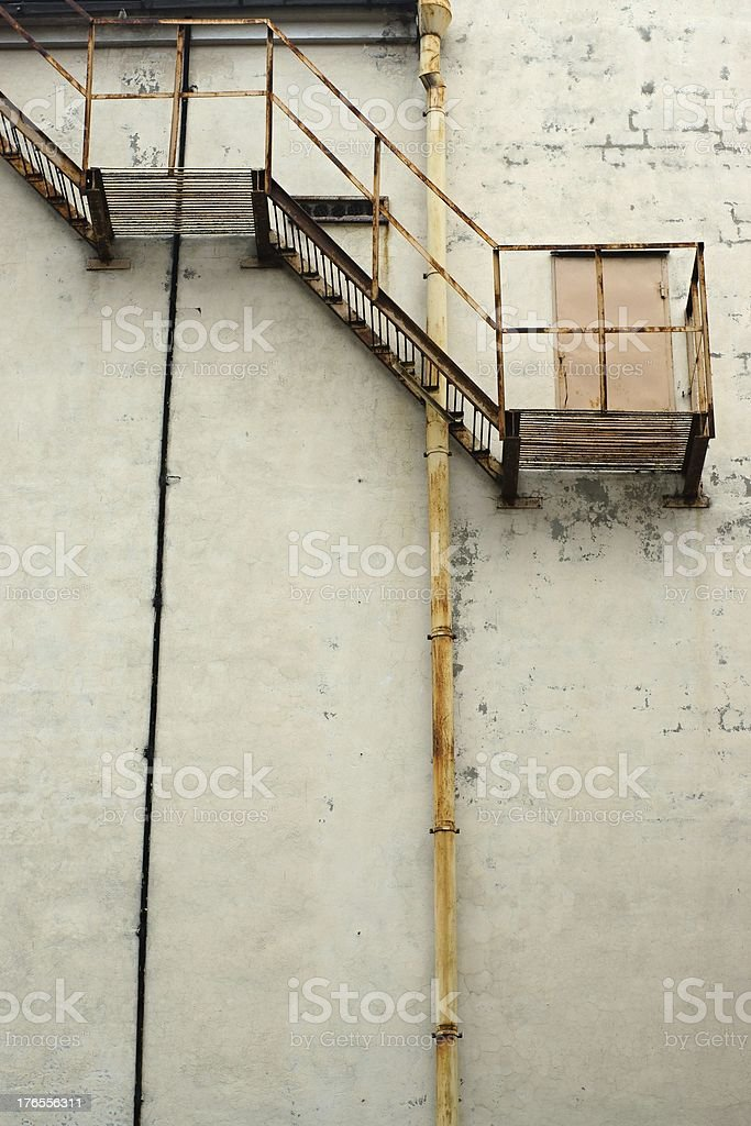 Ladder on a wall royalty-free stock photo
