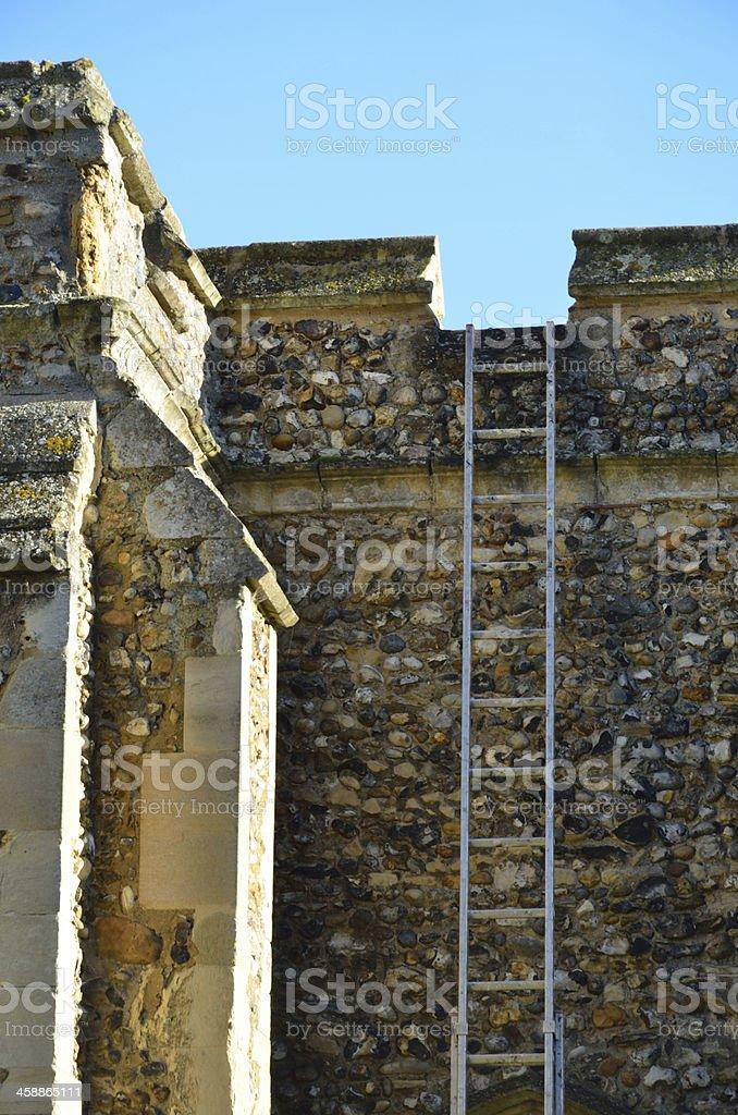 Ladder on Church royalty-free stock photo