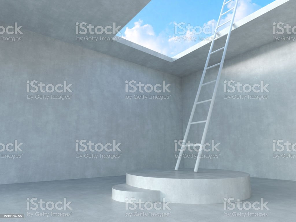 Ladder on podium up to the sky. stock photo