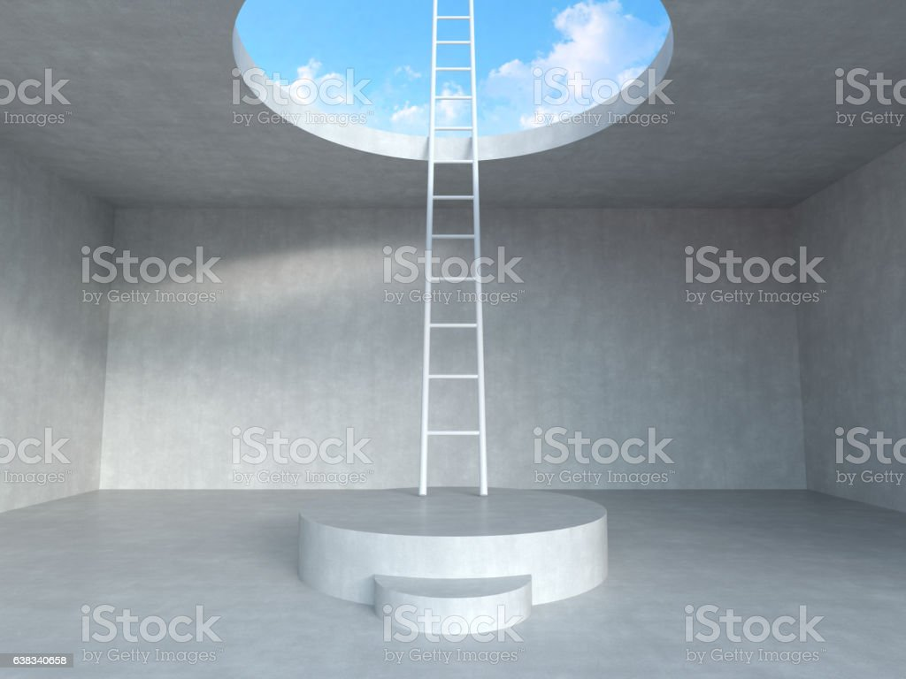 Ladder on podium up to the sky with concrete room. stock photo