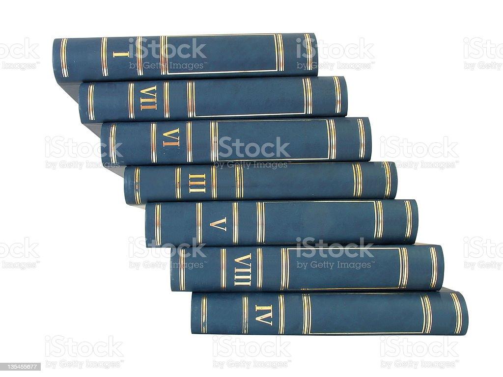Escada pilha de livros isolado em fundo branco foto de stock royalty-free
