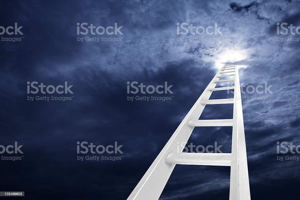 Ladder Reaching to the Clouds royalty-free stock photo