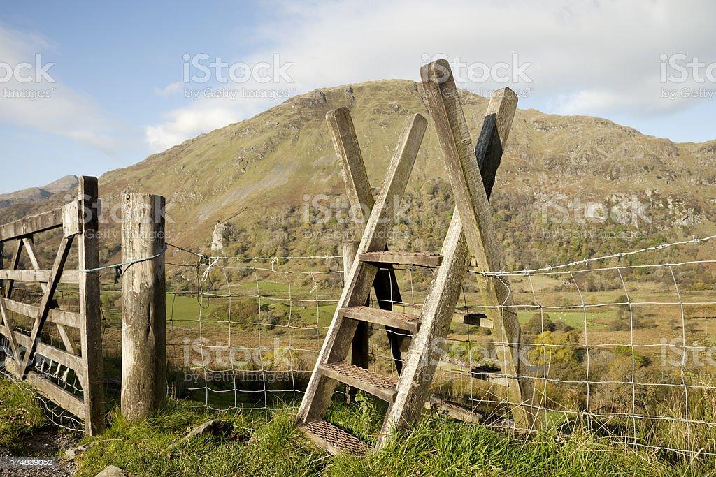 Ladder stile in Snowdonia stock photo