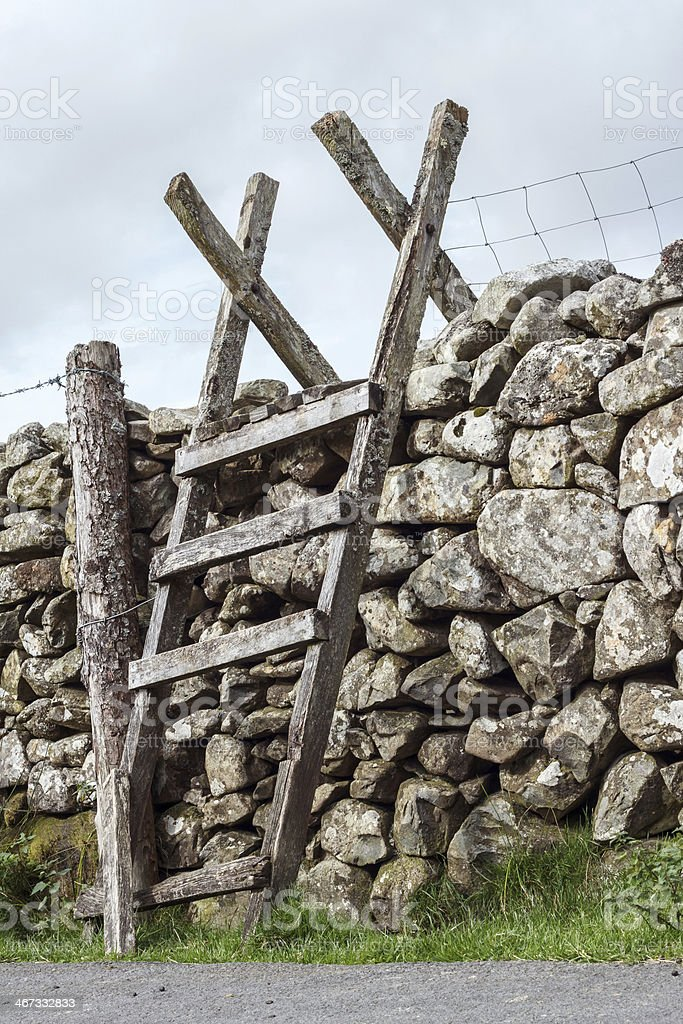 Ladder stile over a stone wall in Snowdonia, Wales stock photo
