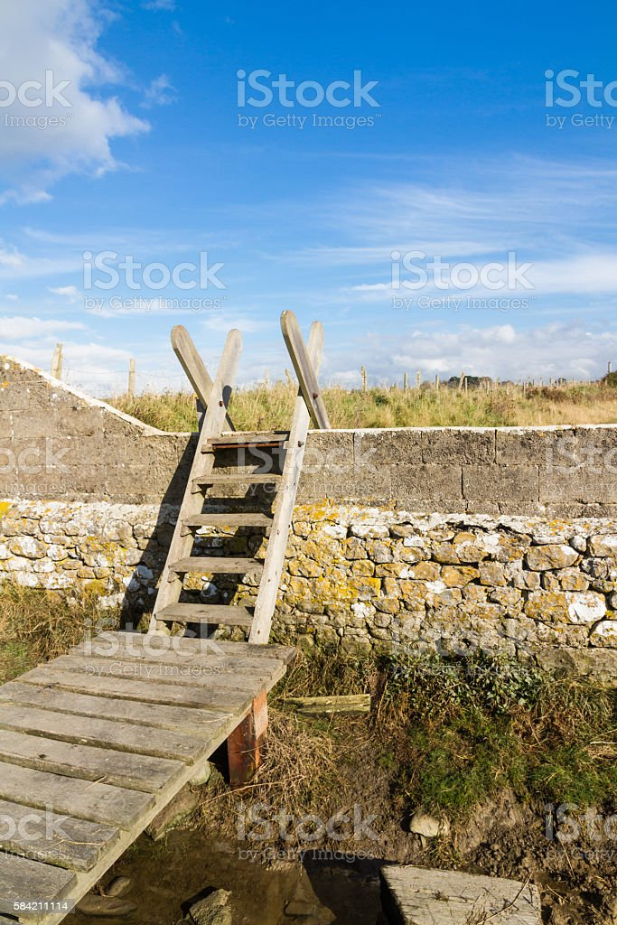 Ladder Stile, South Wales stock photo