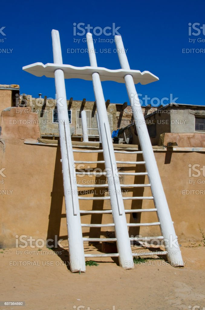 Ladder to Ceremonial Kiva in Acoma Pueblo stock photo