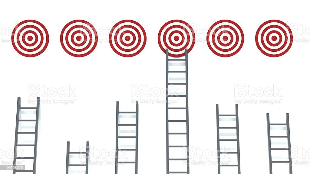 Ladder to middle of target on white background stock photo