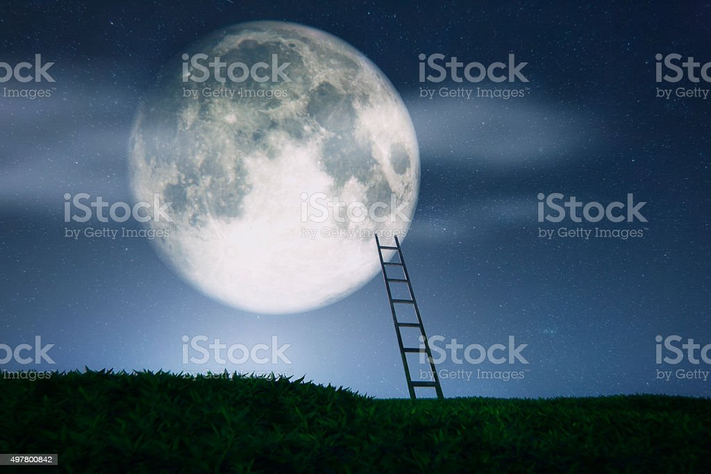 Ladder to the Moon stock photo