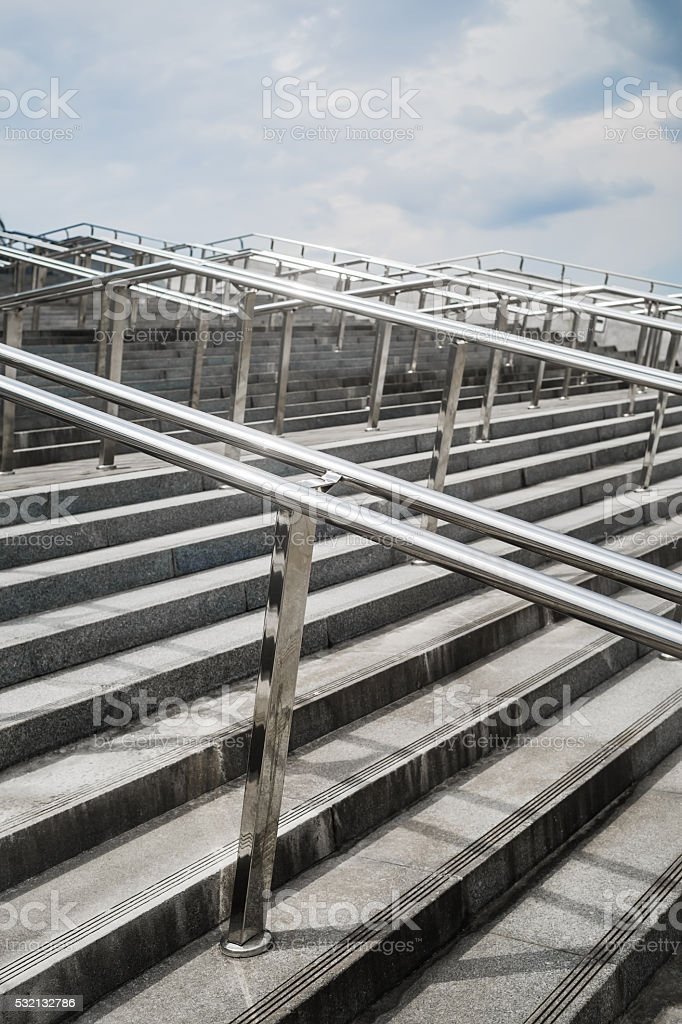 Ladder with handrails stock photo