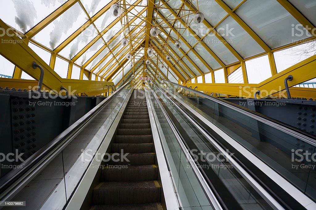 Ladders of the escalator, foot bridge in Moscow, stock photo