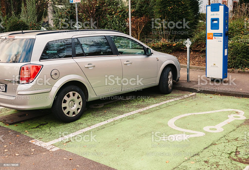 Ladestation - Electric Car recharging point in the German city stock photo