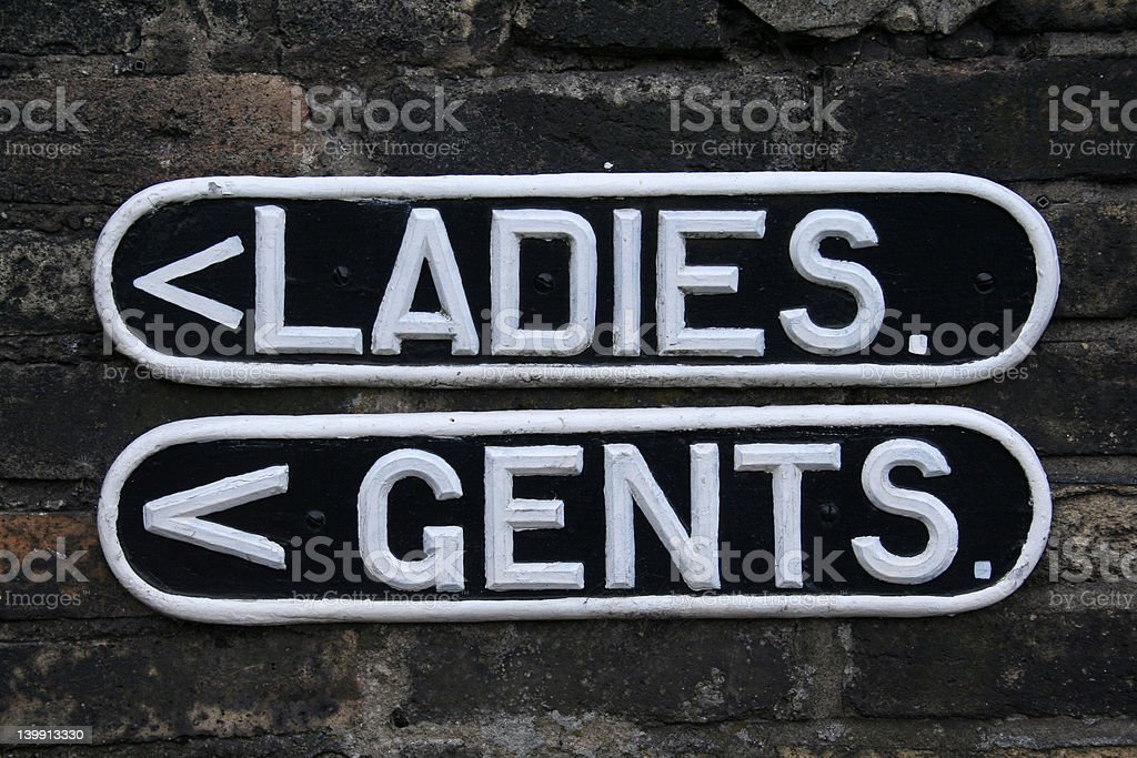 Ladies and Gents Toilet Signs stock photo